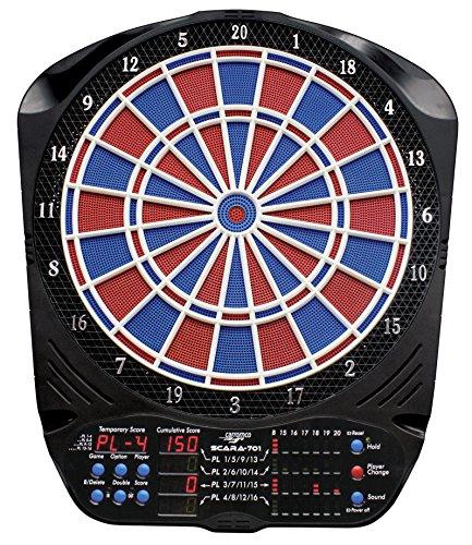 Carromco 92916 Elektronisches E-Dartboard Scara-701, Turnierausführung, schwarz/blau/rot