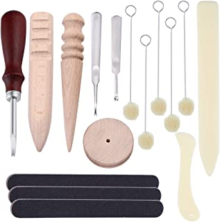 Caydo16 Pieces Leather Edge Beveler with Multi-Size Solid Wood Leathercraft Edge Slicker Burnisher, Sanding Strip, Wool Daubers and Bone Folder