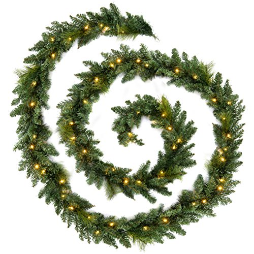 WeRChristmas Plain Pre-Lit Multi-Function Garland with 52 Warm White LED Lights, Green, 12 feet
