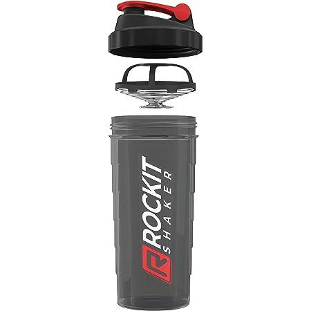 Rockitz Premium Shaker Proteines 1000ml - fonction de mélange premium avec filtre à infusion - pour des shakes protéinés fitness super crémeux, tasse à shake protéiné - Rouge   Noir