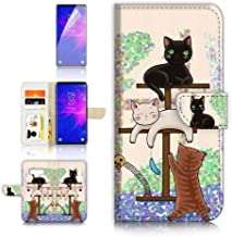 (for Samsung Note 9, Galaxy Note 9) Flip Wallet Case Cover & Screen Protector Bundle - A1944 Cartoon Cat
