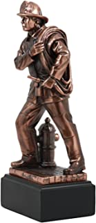 Ebros Men of Duty Fireman Carrying Hose By Hydrant Statue 9.5