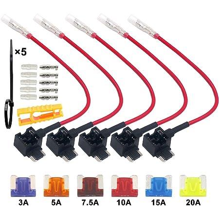 Qitindasen 5pcs Premium 12v 24v Low Profile Add A Circuit Sicherungshalter Klinge Sicherungshalter Kfz Sicherung Tap Flachsicherungsadapter Mit 6pcs Mikro Blade Sicherung Baumarkt