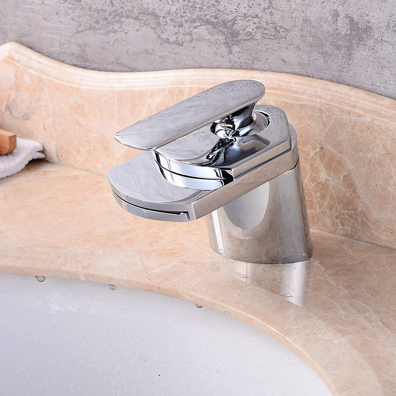 Kitchen & Bath Fixtures Taps Faucet,Wide Mouth Single Hole Copper Basin Waterfall Faucet Bathroom Wash Basin Waterfall Hot and Cold Water Faucet