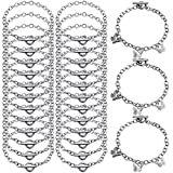 24 Pieces Bracelet Chains with OT Toggle Clasp Stainless Steel Bracelet Link Chains DIY Jewelry Making Bracelets Chains for Women DIY Jewelry Crafts Supplies (Silver)