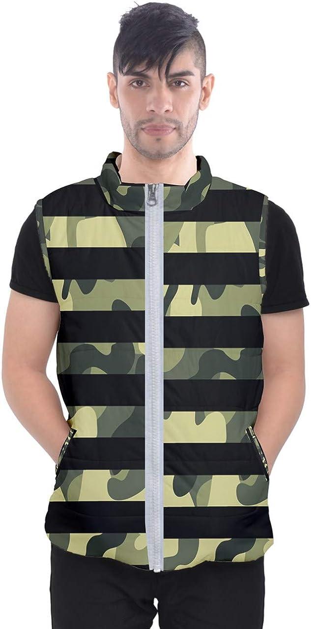 Black White Stripes red Green Emo Punk Rock Full Print Men's Puffer Vests Jacket