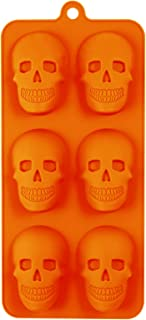 Halloween Skull 6 Cavity Silicone Mold Baking Chocolate Candy Making Ice Cube Molds