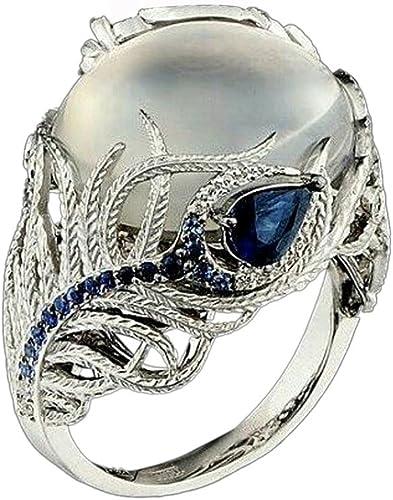 new arrival Saitingdianzi Woman Jewelry Unique Moonstone Treasure Sapphire online sale Diamond Wedding outlet sale Band Floral Rings sale