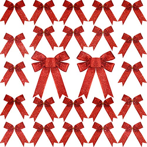 36 Pieces Glitter Christmas Bow with Golden Twist Ties Bow Decorating Set for Xmas Tree Party Decoration (Red)