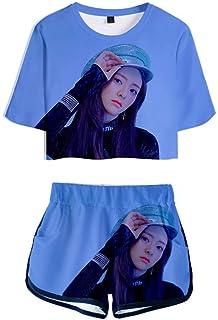 FEIRAN Manga Corta ITZY Camisetas y Pantalones Cortos para niñas con Estampado en 3D Conjunto Casual con H. M