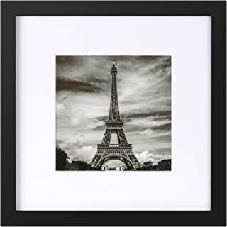 ONE WALL Tempered Glass 10x10 Picture Frame with Mats for 6x6 Photo, Black Wood Frame for Wall and Tabletop - Mounting Material Included