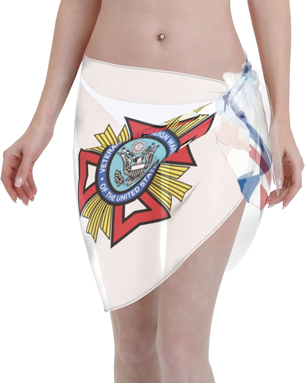 Veterans of Foreign Wars of The United States Women Short Sarongs Beach Wrap Bathing Suits Cover Ups Sheer Short Skirt Bikini Chiffon Scarf Black