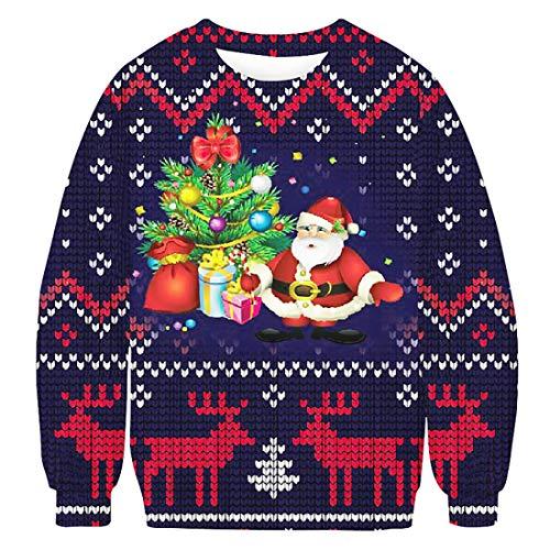 Sykooria Unisex Ugly Christmas Sweatshirt Sweater Langarm Freizeit Pullover Loose Fit Pullunder Rundhals Herren Sweater XL