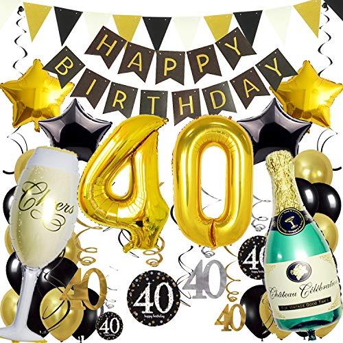 Zerodeco 40ème Bon Anniversaire Décorations, Noir Or Bannière de Happy Birthday Nombre 40 Étoile Bouteilles & Verre à Champagne Ballon en Aluminium Tourbillons Suspendus Fournitures de Fête 40 Ans