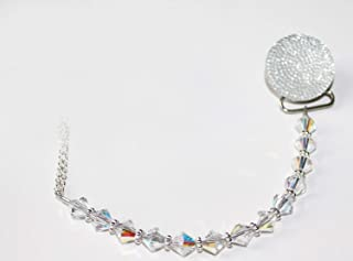 Luxury Clear Crystals from Swarovski Beads and Clear Glitter Unisex Baby Sparkly Gift Pacifier Clip (CSGC)