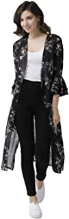Wisstler Women's Black Georgette Floral Print Long Shrug