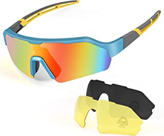 KNMY Gafas de Ciclismo Polarizadas Protección UV400, Gafas de Sol Deportivas con 3 Lentes Intercambiables, Gafas Deportivas Polarizadas Hombre Mujer para Ciclismo, Escalada, Pesca, Conducción
