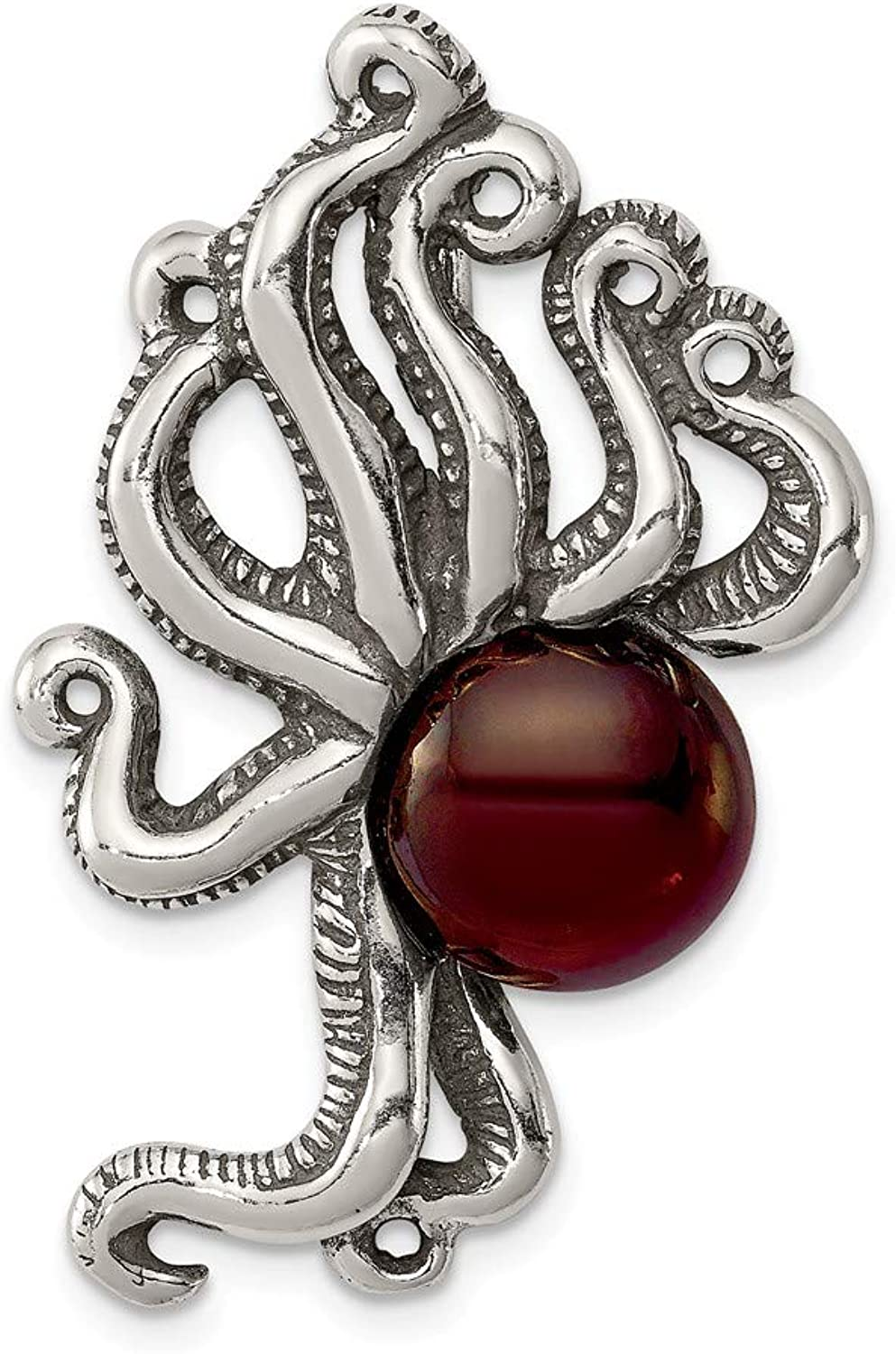 Beautiful Sterling silver 925 sterling Sterling Silver Antiqued & Textured Octopus w Red Stone Chain Slide