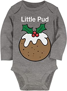 Tstars Little Pud Christmas Pudding Funny Xmas Set Babygrow Baby Long Sleeve Bodysuit