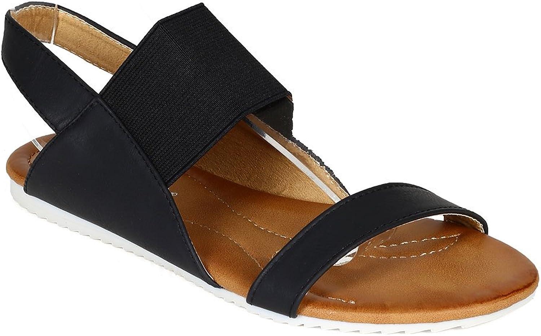 Nature Breeze CA48 Women Mixed Media Open Toe Elastic Slingback Flat Sandal - Black