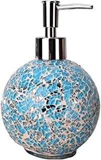 Round Glass Stainless Steel Soap Dispenser Easy Cleaning Rustproof Liquid Soap & Lotion Dispenser Pump Free Standing Classic Design for Kitchen Bathroom Countertops (Color : Blue)