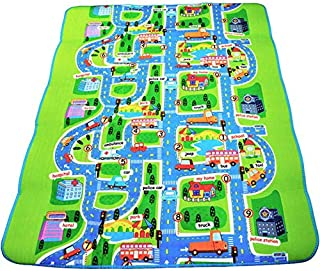 Kids Activity Creeping Play Mat, Baby Learning Decor Rug with Road Traffic, Infants Educational Car Carpet with City Town ...