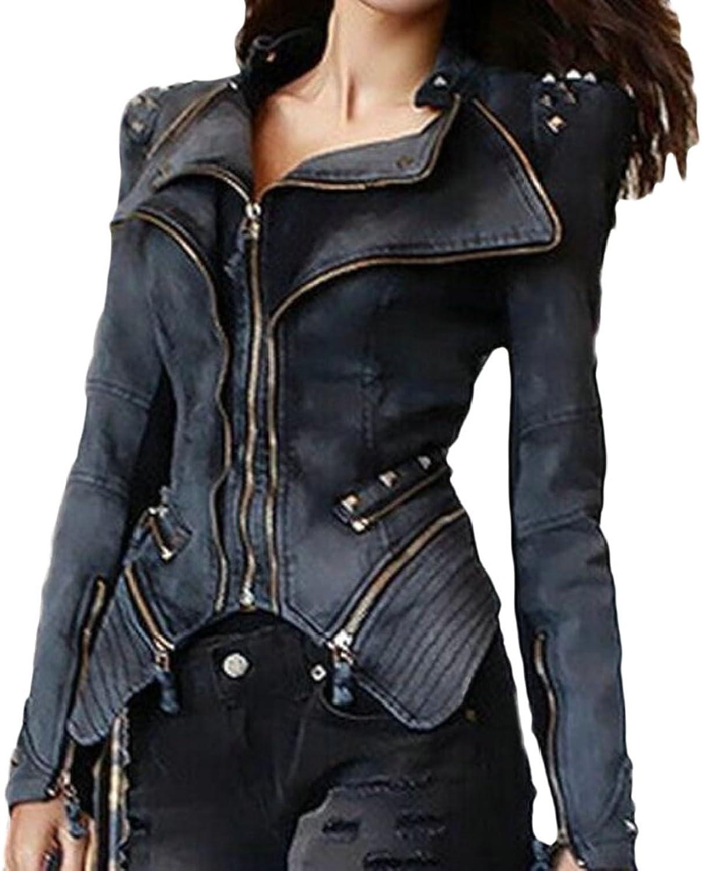 Emastor Womens Motorcycle Slim Fit Denim Leather Quilted Biker Jacket