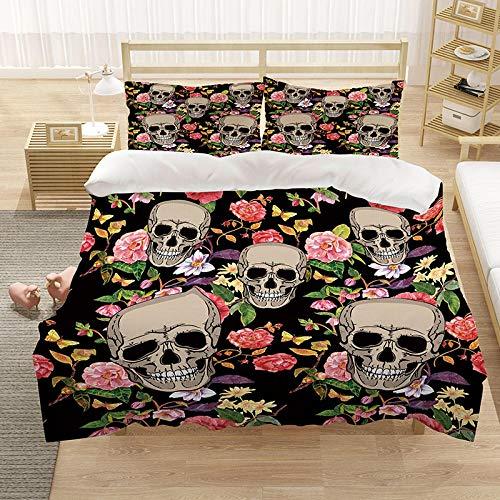 copripiumino per culla,,,Set di biancheria da letto 3D Stampato Skull Skull Rosa e cranio Copripiumino Duvet Set Cover Microfiber Duvet e 2 Pillowcases Doppia taglia 200x200cm-1._210 * 245 cm.