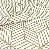 Meboom Rouleau de papier peint en vinyle Motifs hexagones et bandes Doré 45 x 250 cm