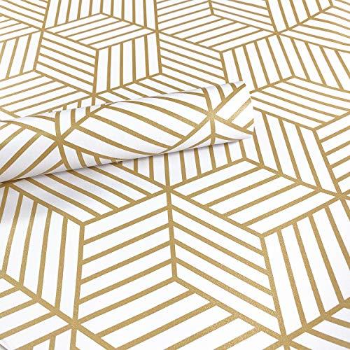 Meboom Champagner-Gold gestreifte Abzieh-Tapete mit sechseckigen Goldstreifen, selbstklebendes Papier, Vinylfolie, Regal, Schublade, Liner, Rolle, 45 cm x 250 cm