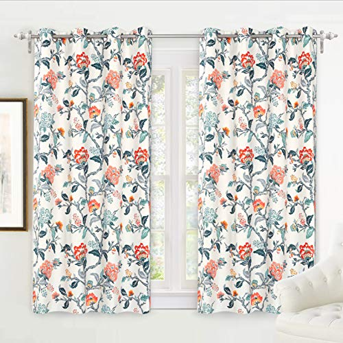DriftAway Ada Floral Botanical Print Flower Leaf Lined Thermal Insulated Room Darkening Blackout Grommet Window Curtains 2 Layers Set of 2 Panels Each 52 Inch by 63 Inch Ivory Orange Teal