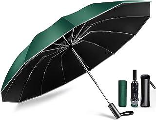 【12本骨逆折り式 & 反射テープ付き】 折りたたみ傘 ワンタッチ 自動開閉 メンズ傘 ビッグサイズ 強靭傘 耐風 撥水 晴雨兼用 男子日傘 UVカット 長持ち 折り畳み傘 日傘 メンズ レディース 梅雨対策 台風対応 収納ポーチ付き DeliToo
