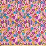 Lunarable bunte Stoff von The Yard, Süßigkeiten-Muster,