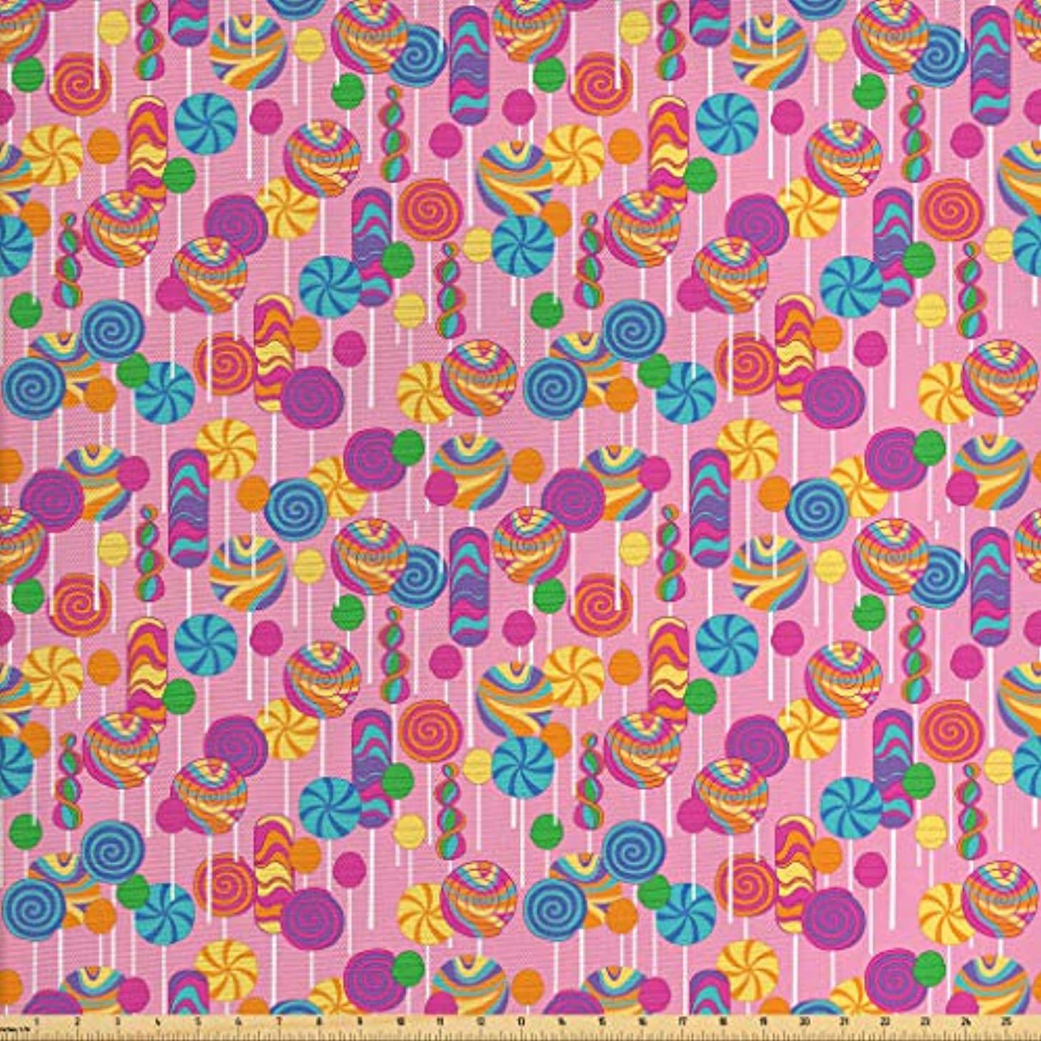 Lunarable Colorful Fabric by The Yard, Candy Pattern Multicolored Elements Fun Happiness Sweets Sugar Fun Theme Print, Decorative Fabric for Upholstery and Home Accents, 2 Yards, Multicolor