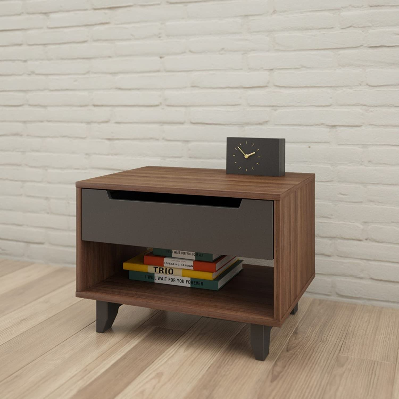 Nexera 340142 Alibi 1-Drawer Nightstand, Walnut & Charcoal