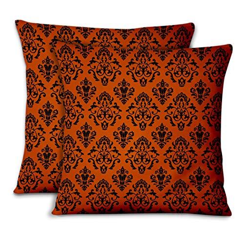 S4Sassy Orange Popeline de Coton fleurir taies d'oreiller chambre'coucher Design Housse de Coussin Jeter pour la Maison 2pièces-20 x 20 Pouces