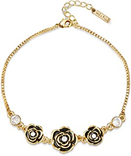 Mestige Golden French Rose Bracelet with Swarovski Crystals