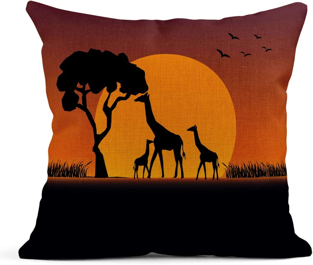 Amazon Com Emvency Decor Flax Throw Pillow Covers Case Orange Silhouette Sunset At Safari Giraffes Family Baby Africa Animal Beautiful 16 X16 Square Linen Cases Cushion Cover One Side Print Home Kitchen