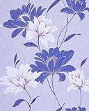 Papel pintado vinílico de diseño floral EDEM 168-32 azul cobalto azul cielo blanco morado plata glitter