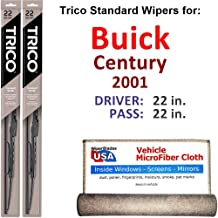 Wiper Blades for 2001 Buick Century Driver & Passenger Trico Steel Wipers Set of 2 Bundled with Bonus MicroFiber Interior Car Cloth