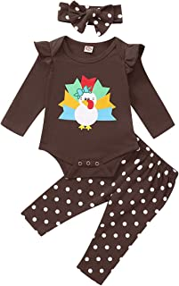 Newborn Baby Girl Halloween/Thanksgiving Outfits Pumpkin Turkey Print Romper Wave Point Pants Toddler Infant Fall Clothes Set