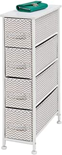 mDesign Narrow Vertical Dresser Storage Tower - Sturdy Metal Frame, Wood Top, Easy Pull Fabric Bins - Organizer Unit for Bedroom, Hallway, Entryway, Closet - Chevron Print, 4 Drawers - Taupe/White