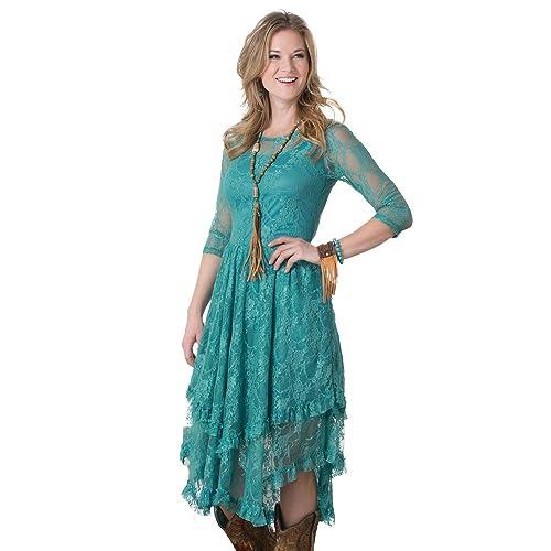 896d69589728 Dusty Turquoise Fields Lace Dress