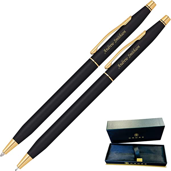 Dayspring Pens Engraved Personalized Cross Classic Century Black Pen And Pencil Set Gold Trim 250105 Custom Engraved Fast
