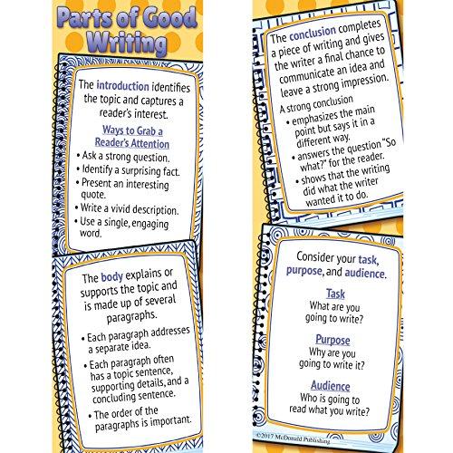 McDonald Publishing MC-K1208 Parts of Good Writing Smart Bookmarks, (Pack of 36)