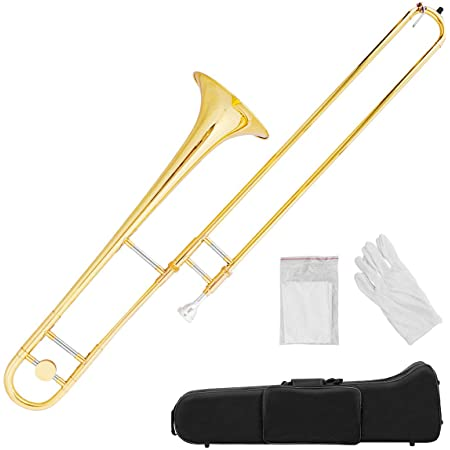 Costzon B Flat Tenor Slide Trombone Brass, Sound for Standard Student Beginner Trombone w/Case, Gloves, Mouthpiece, Portable
