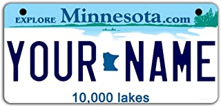 BleuReign(TM Personalized Custom Name Minnesota State Motorcycle Moped Golf Cart License Plate Auto Tag
