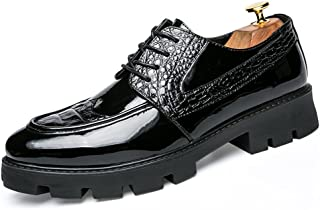 Sygjal Men's Business Oxford Casual Fashion Crocodile Print Stitching Outsole Patent Leather Brogue Shoes (Color : Black, Size : 44 EU)