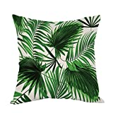 Moslion Palm Tree Pillow,Home Decor Throw Pillow Cover Realistic Vivid Leaves Of Palm Tree Growth Ecology Lush Botany Themed Prin Cotton Linen Cushion for Couch/Sofa/Bedroom18 x 18 inch Pillow case