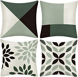 BQEE Cushion Covers Set of 4 Flowers Pattern Cotton and Linen Pillowcase Home Decor for Sofa Car Bedroom 18x18 Inch (geometric4, 18X18)
